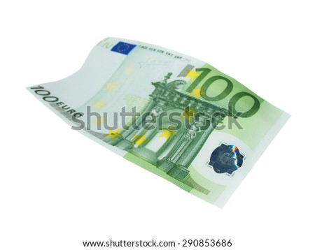 flying one hundred banknote euro isolated on white - stock photo