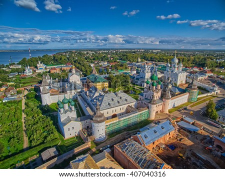 Flying over the Historical Rostov Velikiy Town in Russia - stock photo