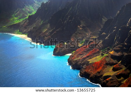 Flying over the island of Kauai, Hawaii