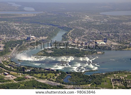 flying over the Niagara region with an aerial view of the Niagara Falls and surrounding areas - stock photo