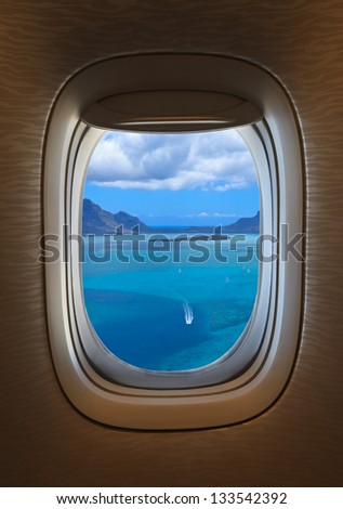 flying over tropical beach - stock photo