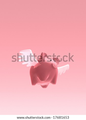 Flying piggy bank - stock photo