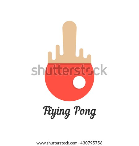 flying pong with red melted tennis racket. concept of championship, visual identity, olympic games, sport store. isolated on white background. flat style trend modern brand design illustration - stock photo