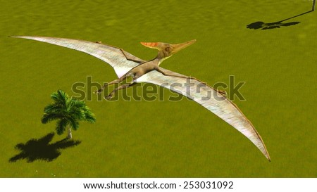 Flying pterodactyl over the land - stock photo