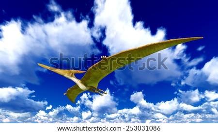 Flying pterodactyl over the sky - stock photo