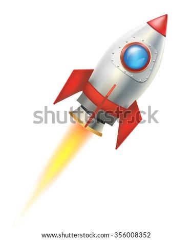 flying rocket on white background. raster version - stock photo
