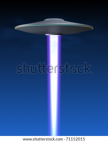 Flying saucer  and energy beam - stock photo