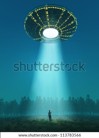 flying saucer arrived - stock photo