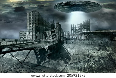 Flying saucer over a destroyed city - stock photo