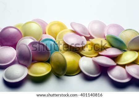 Flying Saucers candies; background of colorful Flying-Saucers candies or sweets  - stock photo