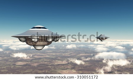 Flying saucers Computer generated 3D illustration - stock photo