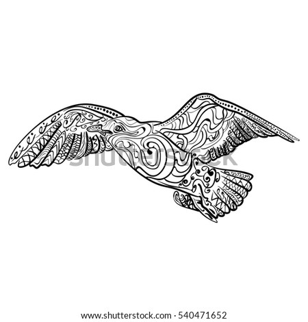flying seagull with high details adult ant istress coloring page black white hand