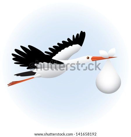Flying stork with baby - stock photo