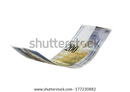 Flying Swiss Francs, isolated as montage element (manual focus)