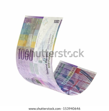 Flying Swiss Francs money, isolated with clipping path