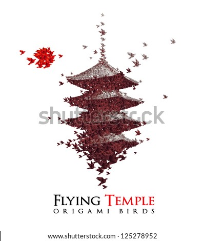 flying temple shaped from origami birds - JPG VERSION - stock photo