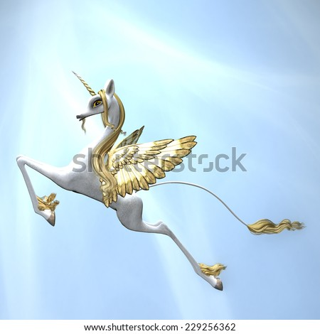 Flying Unicorn - A magical winged unicorn flying with streams of light shining down - stock photo