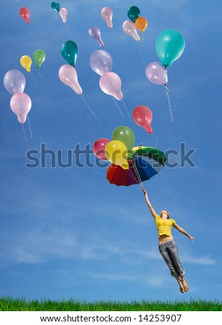 Flying up in the sky - stock photo