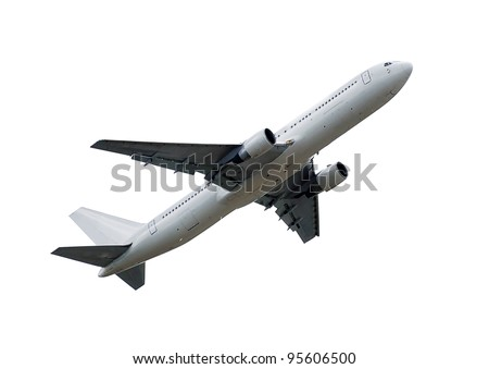 flying up passenger airplane isolated over white background - stock photo