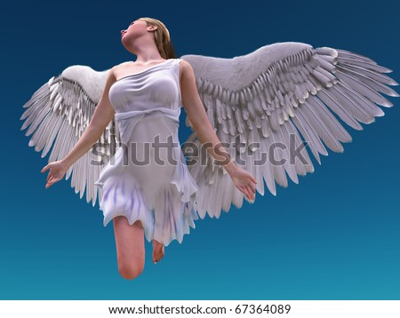 flying white angel - stock photo