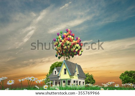 flying wooden house with balloons on the roof
