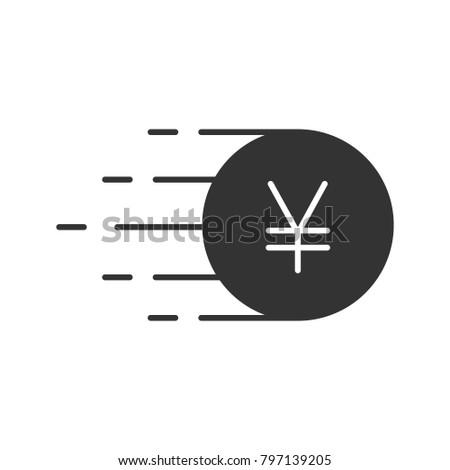 Flying Yen Glyph Icon Silhouette Symbol Stock Illustration 797139205