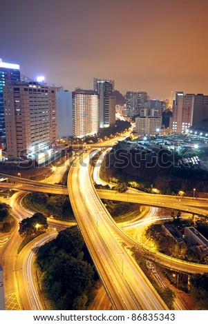 flyover ay night - stock photo