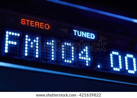 FM tuner radio display. Stereo digital frequency station tuned. Horizontal  - stock photo