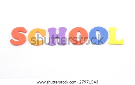 Foam letters spell out the word school