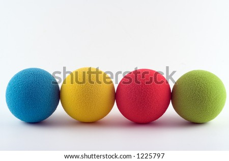 Foam softballs in a row