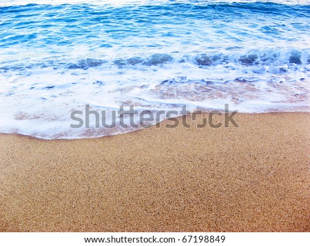 Foamy sea shore at the beach, close up - stock photo