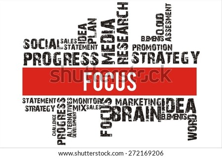 focus in word collage with red background color
