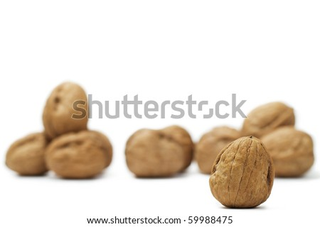focus on a walnut in front of others on white background - stock photo