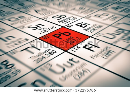 Focus on bad lead chemical element - stock photo
