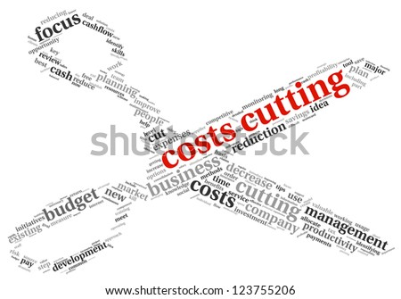 Focus on costs cutting concept in word tag cloud - stock photo