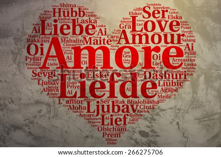 Focus on Italian: Amore. Word cloud in heart shape on Grunge Background. saying thanks in multiple languages. - stock photo