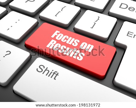 focus on results button on computer keyboard key,  - stock photo