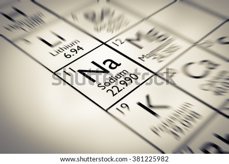 Focus on Sodium Chemical Element from the Mendeleev periodic table