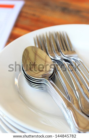 Focus on spoon silver, it item for eat food