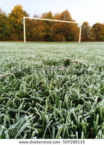 Focus on the foreground of early morning frost on the grass of a football or soccer pitch, with the goalposts and late autumn trees in the background