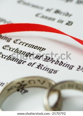 focus on wedding program words rings stock photo 2570792 shutterstock