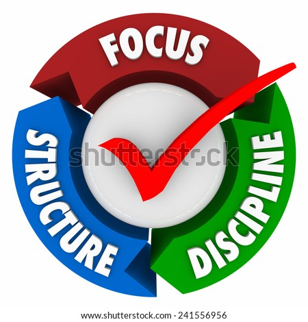 Focus Structure and Discipline words around a check mark to illustrate the needed elements to stay committed to a mission, task, job or goal and achieve success - stock photo