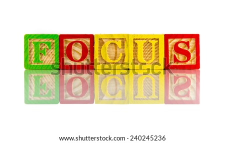 Focus word reflection on white background - stock photo