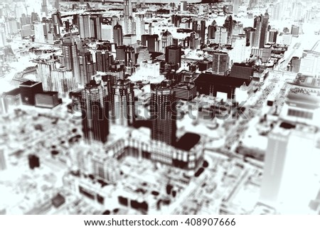Focused skyscraper in the middle of Seattle city with tilt-shift effect - stock photo