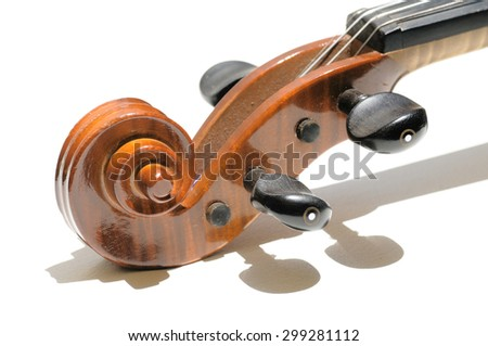 Focusing on a pegbox and the scroll of a violin on white background. Selective focus - stock photo