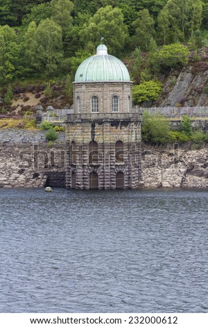 Foel Tower is the intake of the Garreg-ddu Reservoir, water starts its 73 mile journey to Birmingham. Elan Valley, Powys, Wales, United Kingdom, Europe. - stock photo