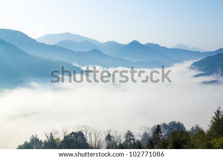 fog and cloud mountain valley landscape, china - stock photo