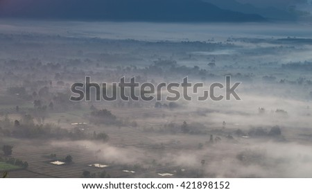 fog and cloud mountain valley sunrise landscape - stock photo