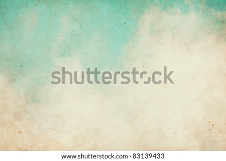 Fog and clouds on a textured vintage paper background with grunge stains. - stock photo