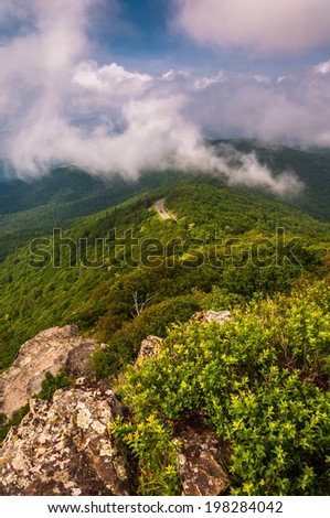 Fog and low clouds over the Blue Ridge Mountains, seen from Little Stony Man Cliffs in Shenandoah National Park, Virginia. - stock photo